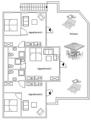 Grundriss der Ferienwohnungen