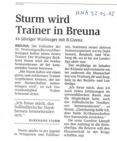 Sturm Trainer in Breuna