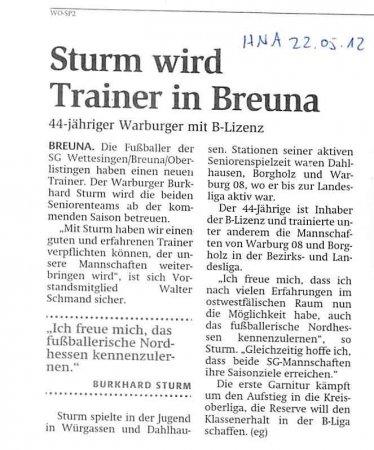 Sturm Trainer in Breuna
