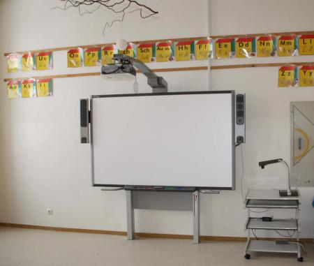 Klassenraum mit interaktiver Tafel