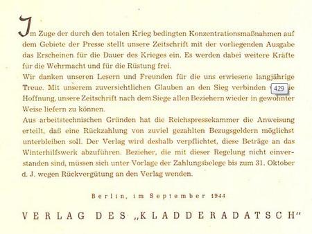 letzte Verlautbarung der Redaktion des Kladderadatsch 1944 ... Quelle - Digitales Archiv der Bibliothek der Universität Heidelberg