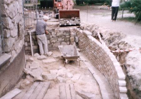 Mauer der hinteren Rampe