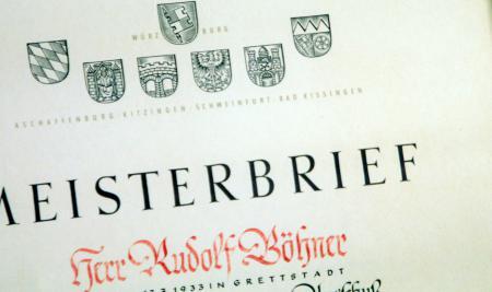 Meisterbrief Rudolf Böhner