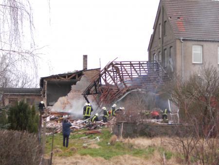 Das zerstörte Wohnhaus neben dem ehemaligen Molkereigebäude