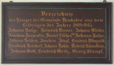 Kirchentafel 1808 - 1815