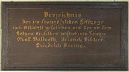 Kirchentafel 1870 - 1871