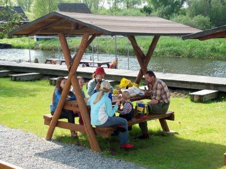 Picknick auf dem Wasserwanderrastplatz Marlow