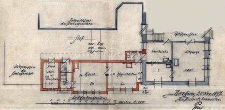 Zeichnung vom 25.11.1897 zum Anbau des Sparkassengebäudes an das Rathaus (2)