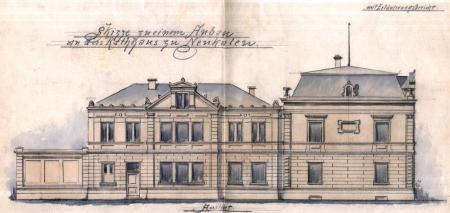 Zeichnung vom 25.11.1897 zum Anbau des Sparkassengebäudes an das Rathaus (1)