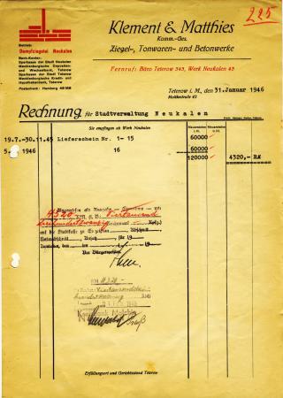 Rechnung Ziegelwerk vom 31.1.1946