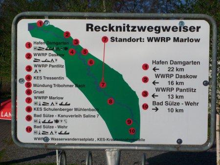 Wasserwanderrastplatz Marlow - Recknitzwegweiser