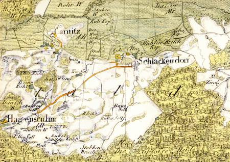 Die Feldmark Schlakendorf auf einer Karte von 1792