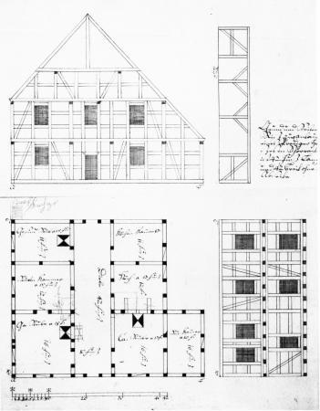 Riß für das neue Pfarrhaus in Schorrentin 1786