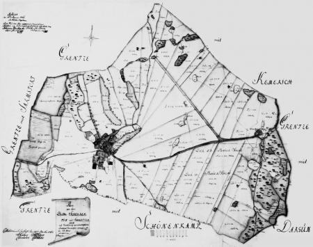 Karte der Feldmark Schorrentin / Schwarzenhof von 1764