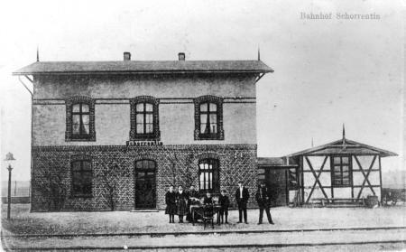 Ansichtskarte Bahnhof Schorrentin, um 1910