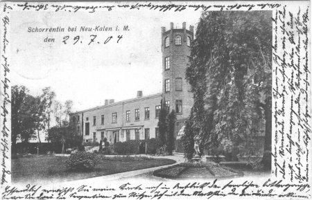Das Gutshaus in Schorrentin auf einer Ansichtskarte von 1904 oder früher