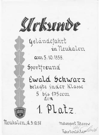 Urkunde Ewald Schwarz (1)