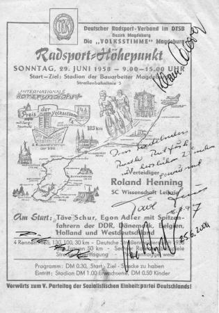 Autogramme auf der Starterliste zur Internationalen Harzrundfahrt 1958