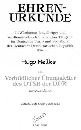 Urkunde Hugo Meilke 1984