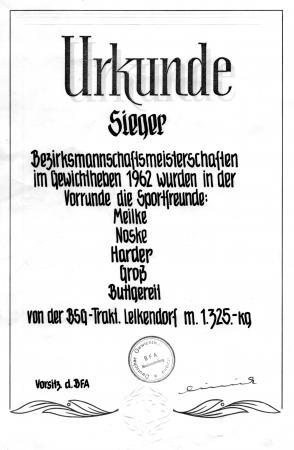 Urkunde 1962