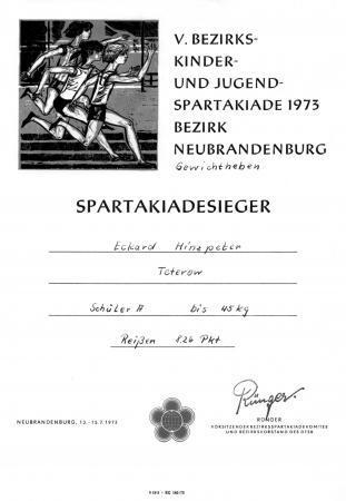 Urkunde Eckard Hinzpeter 1973