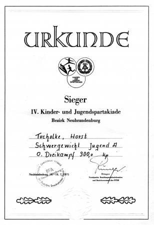 Urkunde Horst Tucholke 1971