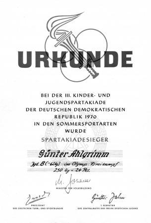 Urkunde Günter Ahlgrimm 1970