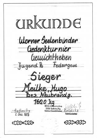 Urkunde Hugo Meilke 1973