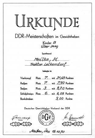 Urkunde Hugo Meilke 1970
