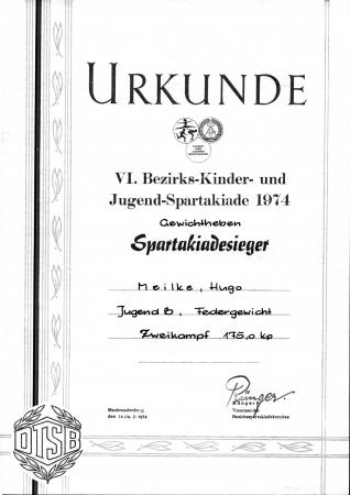 Urkunde Hugo Meilke 1974 (2)