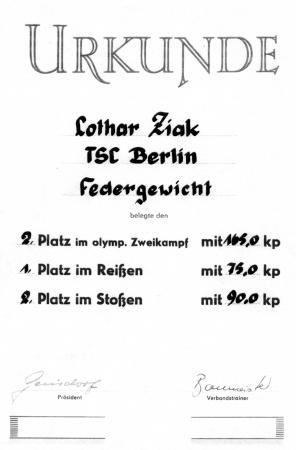 Urkunde Lothar Ziak