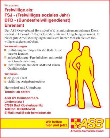 Stellenanzeige FSJ BFD Ehrenamt  Job Hermsdorf Bad Klosterlausnitz Eisenberg Jena Gera