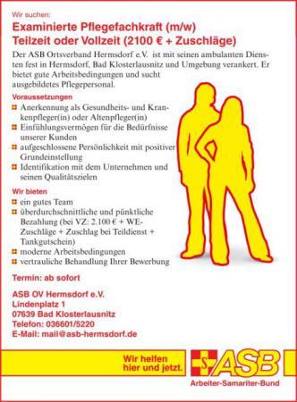 Stellenanzeige Krankenschwester Altenpfleger Job Hermsdorf Bad Klosterlausnitz Eisenberg Jena Gera