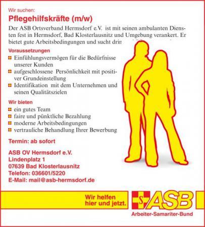 Stellenanzeige Pflegekraft Job Hermsdorf Bad Klosterlausnitz Eisenberg Jena Gera