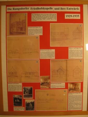 Tafel Friedhofskapelle und ihre Entwürfe