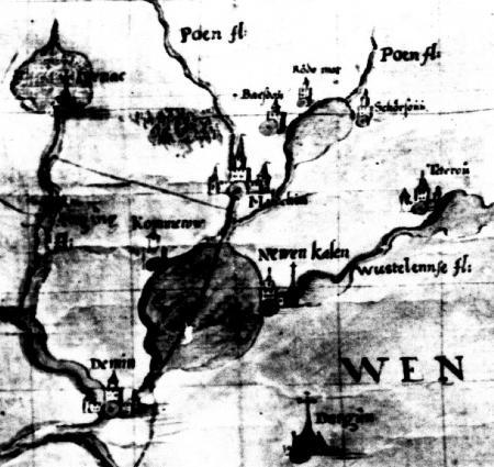 Ausschnitt einer Karte des Tilman Stella aus dem Jahre 1552