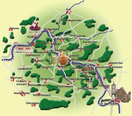 Romantische Straße Karte.Tourismus Taubertal De Unser Tal