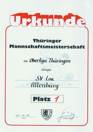 Urkunde als Meister der Oberliga Thüringen 1995/96