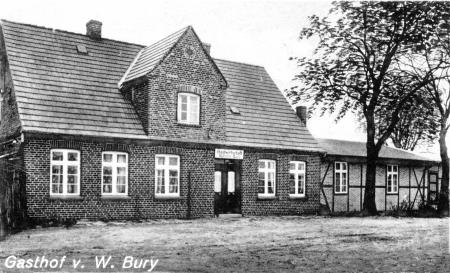 Die Gastwirtschaft von Wilhelm Bury auf einer Ansichtskarte von 1942