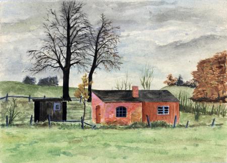 Die Hütte des Kuhhirten am Werderberg (Aquarell von 1962)