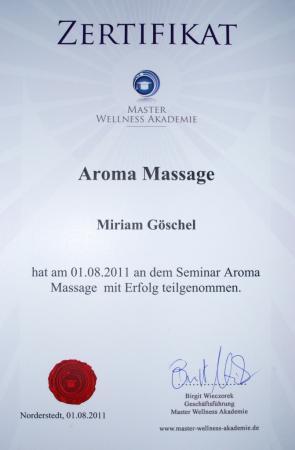 Zertifikat Aromamassage