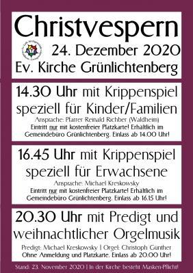 Programm Christvesper 2020