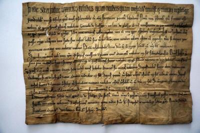 Foto: Stadt Perleberg | Urkunde Salzwedeler Recht von 1239 aus dem Stadtarchiv Perleberg
