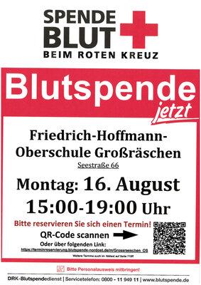 Plakat Blutspende mir QR Code zur Terminreservierung