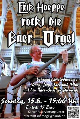 Plakat von Erik Hoeppe rockt die Baer-Orgel