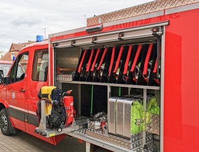 Das TSF-W und seine Ausrüstung können beim Dorffest Kemnitz besichtigt werden. Foto: Katja Zeiger