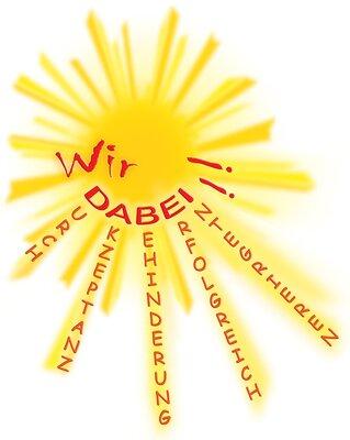 Auf dem Bild sieht man das Logo des Vereins,  eine Sonne dem Text: Wir DABEI!