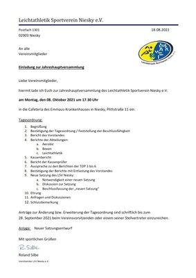 Einladung zur Jahreshauptversammlung 08.10.2021