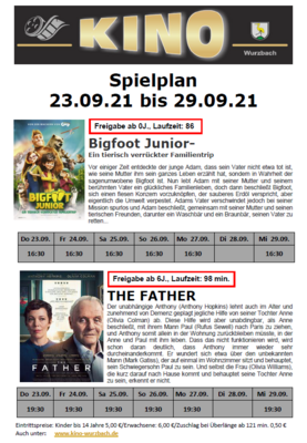 Spielplan Kino Wurzbach vom 23.09.2021 - 29.09.2021