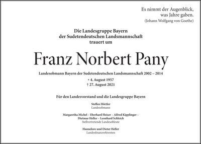 Traueranzeige Landesgruppe Bayern